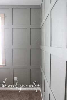 board and batten wall We're sharing our complete tutorial for the awesome grid board & batten in the office! It's the perfect backdrop for everything else to come! Do It Yourself Decoration, Accent Wall Bedroom, Master Bedroom, Bedroom Decor, Wall Trim, Wall Molding, Moldings, Wood Panel Walls, Board And Batten