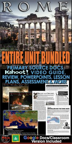 Ancient Rome Unit includes Ancient Rome PowerPoints with video clips and presenter notes. Unit also includes, warm up PowerPoints, informational text documents with questions, primary source lessons, maps, exit tickets, crossword review, a project, video/video guide, Kahoot! review game, and editable assessment. Everything is put together with detailed daily lesson plans. Just copy and paste to your lesson plans.  #HistoryLessonPlans #Socialstudies #WorldHistoryLessonPlans Rome History, Ancient World History, History Lesson Plans, World History Lessons, Teaching History, Rome Map, Video Game, Colleges For Psychology, Daily Lesson Plan