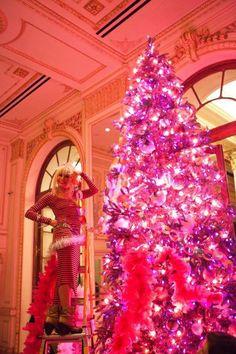 The Plaza Hotel's Hot Pink Betsey Johnson Christmas Tree - Haute Living Luxury Christmas Tree, Creative Christmas Trees, Christmas Tree Design, Decorating With Christmas Lights, Christmas Tree Themes, Noel Christmas, Xmas Trees, Holiday Decorations, Beautiful Christmas