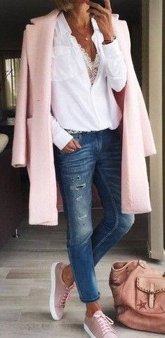 #fall #outfits pink coat, white dress shirt, blue denim jeans and pair of pink low-top sneakers