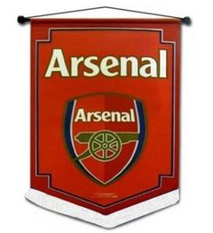 Arsenal FC Crest Pennant by Arsenal. $11.66. This official Arsenal FC pennant is now available for immediate delivery. Featuring the official Arsenal club crest, this pennant is a must for all Gooners. measures 40cm x 28cm