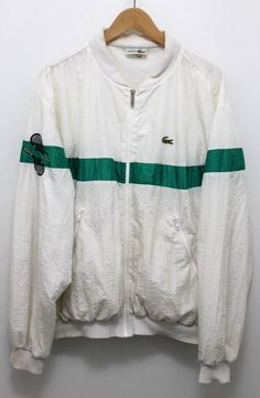 MADE IN FRANCE. Lacoste Chemise. Lacoste chest logo. Tennis rackets on the right sleeve. 100% Authentic. This is a Second Hand item and is sold to you as such. Color: White / Green stripe. Unique coating. | eBay!