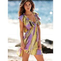 embellished yellow top victoria secret   Victoria's Secret - NEW! Tie-dye ruffled v-neck dress   ThisNext