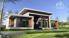 บ้านชั้นเดียวสวยหลังใหญ่ 4 ห้องนอน 3 ห้องน้ำ ออกแบบสไตล์โมเดิร์น   ดูไอเดียบ้าน Simple Bungalow House Designs, Row House Design, Duplex House Design, Cool House Designs, New Model House, Model House Plan, House Plans Australia, One Storey House, House Plans Mansion
