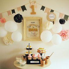 女性で、3DKの海外インテリアに憧れる/パーティー/ポスター手作り/ペーパーポンポン/風船…などについてのインテリア実例を紹介。「次女の1歳の誕生日!デコレーション頑張りました♪」(この写真は 2016-09-21 06:11:57 に共有されました) Happy Birthday Fun, Baby Birthday, Paper Flowers Craft, Flower Crafts, Paper Wall Art, Banner Backdrop, Fun Drinks, Birthday Decorations, Party Planning