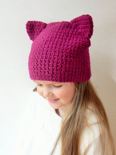 Cat Ears Hat, Cat Beanie, Animal Hat, Crochet Cat Hat, Kitty Hat, Girls Outfit…