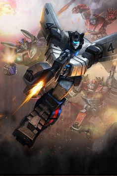 Jazz with...Bluestreak, Prowl, and I think Windcharger. Let me know if I got any of 'em incorrect. :) Artist unknown, but I give credit to them!