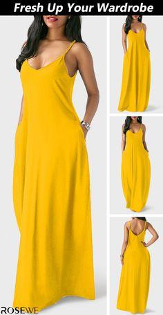 Ginger Open Back Spaghetti Strap Maxi Dress African Maxi Dresses, Latest African Fashion Dresses, Cute Dresses, Casual Dresses, Summer Dresses, Dress Outfits, Fashion Outfits, Dress Fashion, Mode Kimono