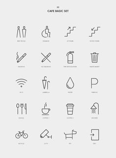 30 Amazing Pictogram Designs For Inspiration - Coffee Icon - Ideas of Coffee Icon - 30 Amazing Pictogram Designs For Inspiration Hotel Signage, Wayfinding Signage, Signage Design, Design Ios, Icon Design, Logo Design, Graphic Design, Flat Design, Motion Design