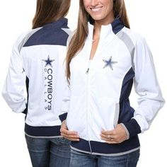 Dallas Cowboys Ladies Full Zip Track Jacket - White - Fashion up Trend Dallas Cowboys Outfits, Dallas Cowboys Women, Cowboy Outfits, Football Outfits, Dallas Cowboys Football, Football Baby, Pittsburgh Steelers, Dallas Cowboys Gifts, Cowboys 4