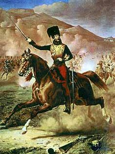 Lord Cardigan leading the charge of the light brigade at the Battle of Balaclava