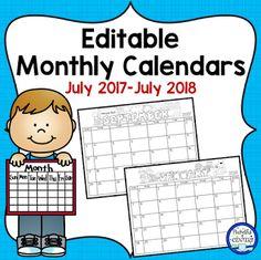 Monthly Editable Calendars Update