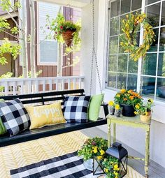 New Outdoor Home Decor, Summer front porch goals! We love the way brand ambassador, The Painted Piano, styled her front porch with bright colors and buffalo check! Summer Porch Decor, Summer Front Porches, Country Porch Decor, Front Porch Garden, Country Porches, Farmhouse Front Porches, House With Porch, Porch Decorating, Farmhouse Decor