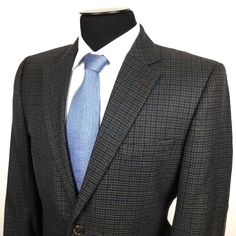 STAFFORD Mens 42R Brown Blue Plaid 2-Button Wool/Poly Patches Sport Coat/Jacket | Shop for men's sports coats, sports jackets, suits, and blazers at www.designerclothingfans.com Discover a variety of men's formalwear for the office to complete your wardrobe this Fall and Winter.