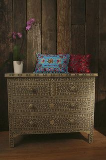 Indian Bone 4 Drawer Chest of Drawers with cushions http://www.irisfurnishing.com/Bone-Inlay-Furniture-s/1814.htm