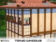 This Tokyo set was a request I couldn't refuse! This is part 2 and it contains 15 items like windows, doors, arches and roof deco. For the roof deco and fake window wall you might need to use. Japanese Door, Japanese Bathroom, Sims 4 Windows, Sims Medieval, Sims 4 Clutter, Sims 4 Mm Cc, The Sims 4 Download, Sims 4 Build, Sims 4 Cc Finds