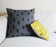 Grey Brushstrokes Linen Pillow // Cotton  Flax