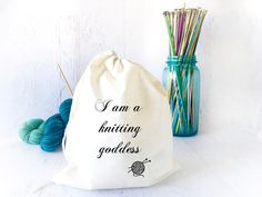 This bag makes the perfect gift for any knitter. It's lightweight, the perfect size for socks, shawls or other small projects.