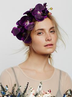 Cordelia Orchid Crown | Black headband adorned with large orchids for an edgier take on the flower crown staple.
