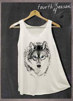 Siberian Husky Wolf Shirt Animals Shirt Tank Top Women Size S and M on Etsy, $14.99