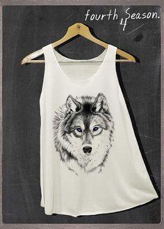 Siberian Husky Wolf Shirt Animals Shirt Tank Top Women Size S and M on Etsy, $14.99