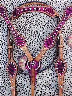New Hilason Western Pink Zebra Hair On Leather Horse Bridle Headstall Breast Collar Rhinestones by HILASON, http://www.amazon.com/dp/B00EHMPWR8/ref=cm_sw_r_pi_dp_FKOksb0787RV2