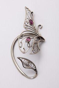 Ear Cuff Butterflyr  Era cuff   Nickel Silver Ear by OlgaVolodina