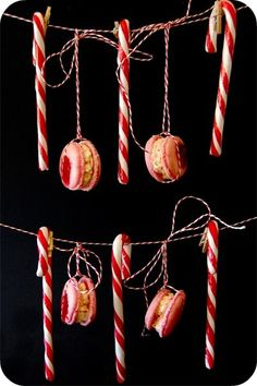 candy cane macarons with candy cane buttercream