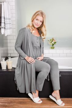Chic maternity over-the-bump pyjamas with breastfeeding opening and a matching dressing gown. At www.bumpkyn.co.uk