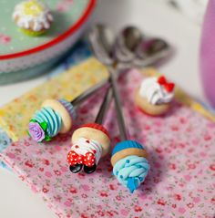 polymer clay cup cake spoon