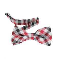 Red And Black Gingham Bow Tie And Pocket Square Set