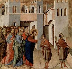 Маэста, алтарь сиенского кафедрального собора, оборотная сторона, пределла со сценами Искушения Христа и Чудесами, Исцеление