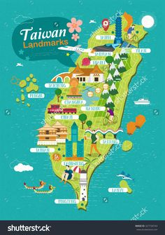 Taiwan Landmarks Travel Map In Flat Design Stock Photo 327720743