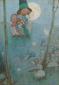 """Mabel Lucie Attwell - """"Fairies and Pixies at play by Moonlight"""""""