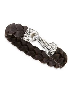Men\'s+Classic+Chain+Leather+Hook+Bracelet,+Brown+by+John+Hardy+at+Neiman+Marcus.
