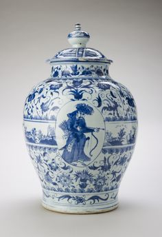 Jar and cover China, Ming Ming, Porcelain painted in underglaze blue, H. x cm Hampton Court Palace, RCIN 1209 Blue And White China, Blue China, Japanese Porcelain, China Porcelain, The Royal Collection, Himmelblau, Chinese Ceramics, Objet D'art, Ginger Jars