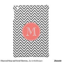 Charcoal Gray and Coral Chevron Custom Monogram Cover For The iPad Mini