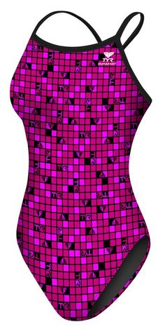 TYR Pink Womens TYR Check Diamondfit Swimsuit - TYR Pink - Collections - Sports et équipements - Natation - Tyr