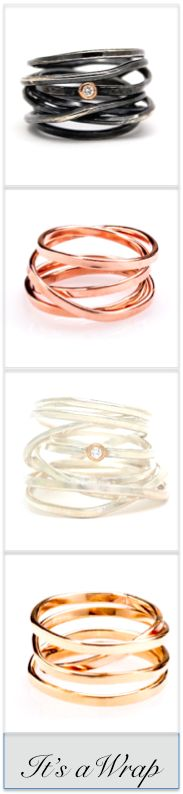 Visibly Interesting: The ever-popular wrap rings from Poppyor Jewelry, now available in multiple finishes, heights and with and without diamonds.