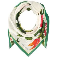 Vince Camuto Tropic Flora Square (White) ($53) ❤ liked on Polyvore featuring accessories, scarves, square scarves, white scarves, patterned scarves, pure silk scarves and silk shawl