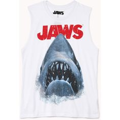 FOREVER 21 Jaws™ Muscle Tee ($13) ❤ liked on Polyvore featuring tops, shirts, tank tops, tanks, graphic shirts, ripped shirt, forever 21, graphic design shirts and torn shirt