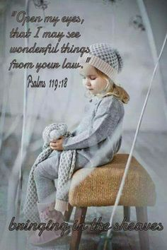 Open my eyes that I may see wonderful things from Your law. Psalm 119 : 18