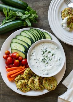 Baked Zucchini Fritters with Ranch Tzatziki #zucchini #ranch #tzatziki #appetizer
