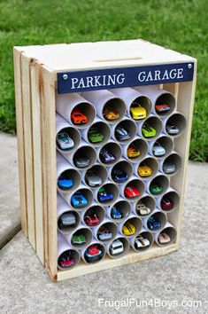 Helping Kids Grow Up: How To Make A Wooden Crate Parking Garage
