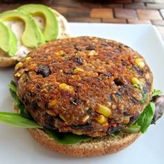 Veggie Burger: 1/2 cup quinoa, rinsed  One 15-ounce can black beans, drained (or whatever beans you like and are used to)  1/2 cup frozen corn kernels, thawed  1/2 cup panko breadcrumbs or regular breadcrumbs  1/4 cup chopped fresh cilantro  1/4 cup chopped onion  1 teaspoons kosher salt (I didn't use quite this much)  1/2 teaspoon chili powder  1/2 teaspoon ground cumin  1/2 teaspoon granulated garlic  1/2 teaspoon freshly ground black pepper  Juice of 1/2 lemon  1 tablespoon oil
