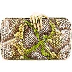 Benedetta Bruzziches 'Carmen' clutch (¥65,100) ❤ liked on Polyvore featuring bags, handbags, clutches, purses, brown hand bags, brown purse, python purse, hand bags and snake print purse