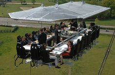 The one that probably isn't for you if you suffer from vertigo. Dinner In The Sky, various cities hoists their guests into the air by attaching a special portable table to a crane. Diners are strapped into their seats, and can watch as a chef and assistance produce their meal at a preparation space in the centre of the table.  Generally, their tables can seat up to 22 people, and are raised 100ft into the atmosphere for gastronomic grub.