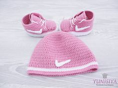Crochet Pink hat and booties , Crochet Pink baby set, Crochet Baby Hat Sneakers Set, 0-6 months, crochet baby hat, baby girl crochet This crochet girl booties and hat set is the cutest thing ever and a perfect gorgeous gift for a Newborn baby! You want your baby to be unique, stylish, recognizable and at the same time to be warm and comfortable? Do you want to make a special present for a special baby? Then trust my professionalism and order it from BUBUCrochet. My yarn is 55% cotton, 45%…