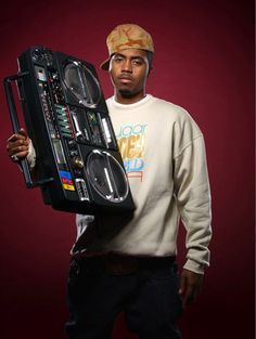 3. Hip-hop fashion--Began in the late 1980s; Originated in the South Bronx. Very athletic look that is associated with rap music. Men, like Nas pictured here, wore baggy pants and baseball caps that were turned backward.
