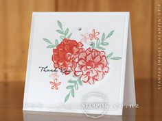 This sweet thank you card, featuring the What I Love stamp set, is stamping in it's purest form... no techniques, no fancy stuff, just lots of stamping.  Love it!  Inspired by Mary Brown.  www.creativestamping.co.nz   Stampin' Up!   2016 Sale-A-Bration